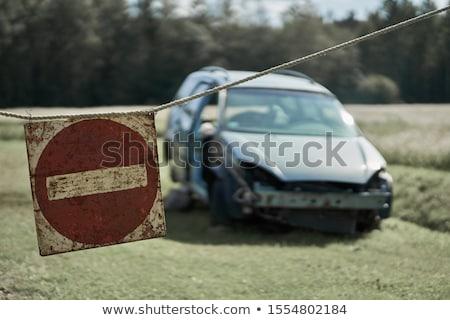 Felirat figyelmeztető jel fehér férfi természet fém Stock fotó © RAStudio