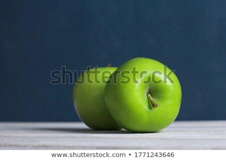 kettő · zöld · almák · mosolyog · sír · fehér - stock fotó © andreasberheide