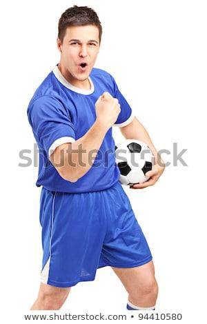 Voetballer Blauw vieren overwinning witte gelukkig Stockfoto © wavebreak_media