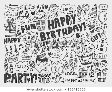 verjaardagstaart · kaarsen · schets · icon · vector · geïsoleerd - stockfoto © rastudio