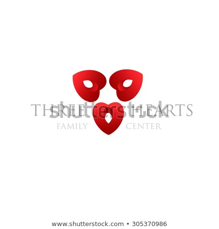 Three Hearts Logo Modern Logotype For Wedding Agency Family Center Valentines Day Heart Clinic Stock fotó © mcherevan