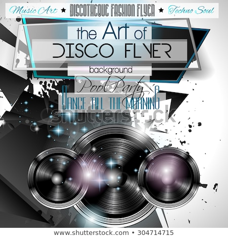 club disco flyer set with low poly djs stock photo © davidarts