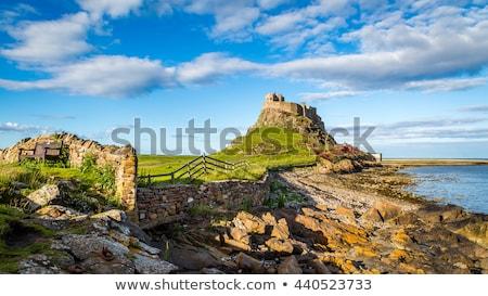 Foto stock: Castillo · isla · vista · arquitectura · olas