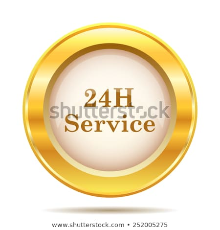 24 Hours Emergency Service Golden Vector Icon Button Stock photo © rizwanali3d