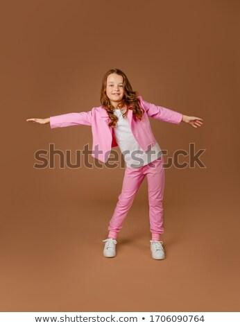 lány · rózsaszín · ruházat · gimnasztikai · testmozgás · nő - stock fotó © Paha_L
