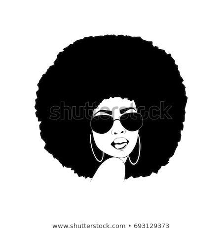 ファンキー アフロ 少女 女性 70年代 ビッグ ストックフォト © ClipArtMascots