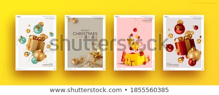 Сток-фото: Gold Ball Vector Holiday Christmas Blue Red Background Illustration Decoration Xmas Banner