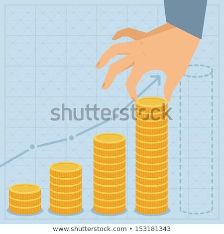 Diagram gouden munten geïsoleerd witte achtergrond Stockfoto © vapi