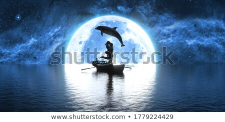 illustration of a jumping dolphin over a moonlight stock photo © smeagorl