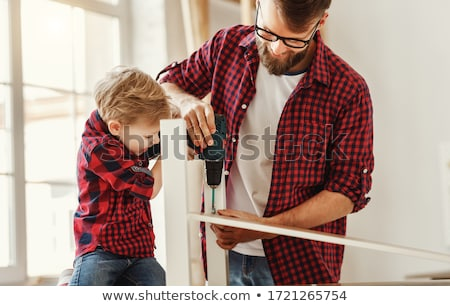 perforación · trabajador · concretas · edificio · pared - foto stock © shime