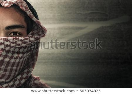 Terörist yüz tabanca portre asker beyaz Stok fotoğraf © zurijeta