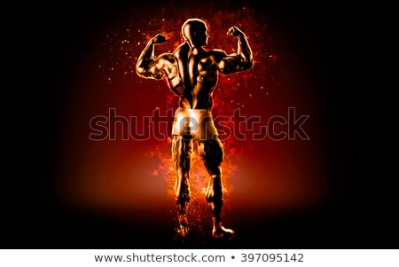 Yanan vücut geliştirmeci poz siyah 3d illustration adam Stok fotoğraf © Kirill_M