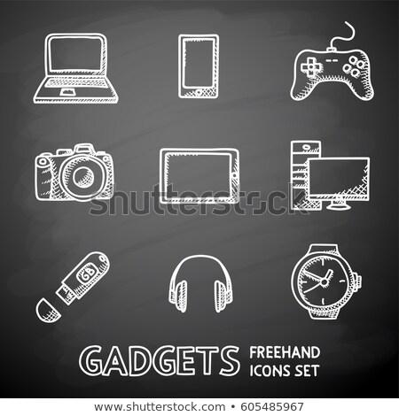 koptelefoon · schets · icon · vector · geïsoleerd - stockfoto © rastudio