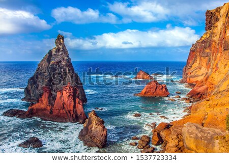 Volcanique roches madère île ciel bleu vert Photo stock © compuinfoto