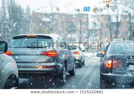 sürücü · yağmur · trafik · sıkışıklığı · araba · ön · cam · ayna - stok fotoğraf © blasbike
