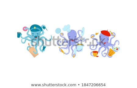 Octopus Painter Holding Brush Stock photo © derocz