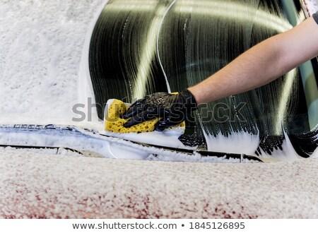 Sünger araba beyaz fırçalamak stüdyo Stok fotoğraf © cynoclub