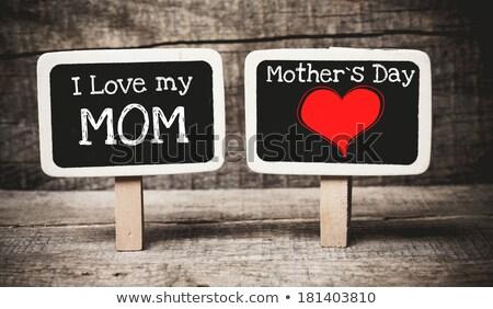 Sevmek anne metin okul tahta tebeşir Stok fotoğraf © fuzzbones0