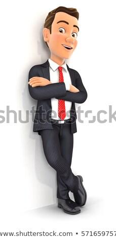 hombre · 3d · blanco · pared · ilustración · aislado - foto stock © 3dmask