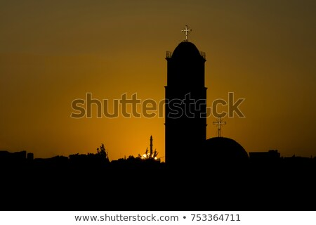 Foto stock: Arabic Mosque And Church In Amman Jordan