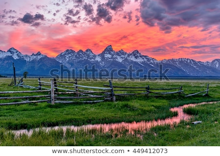 Teton mountains in Wyoming, USA - panorama image Stock photo © CaptureLight
