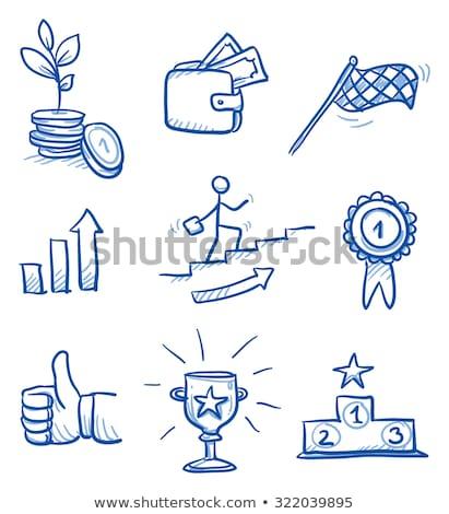 Zwycięzcy podium szkic ikona wektora odizolowany Zdjęcia stock © RAStudio
