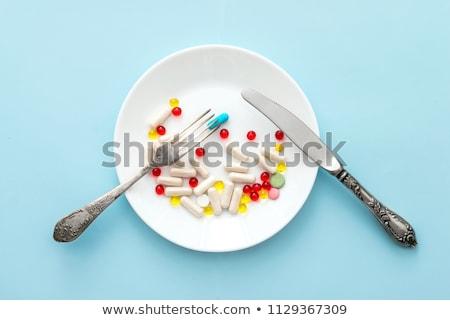 Pastillas placa colorido servido primer plano Foto stock © simply