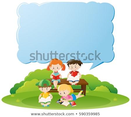 Stock fotó: Keret · sablon · gyerekek · olvas · könyvek · illusztráció