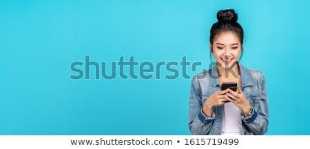 Taylandlı kız mavi afiş örnek çocuk Stok fotoğraf © bluering