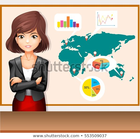 Businesswoman with worldmap and charts Stock photo © bluering
