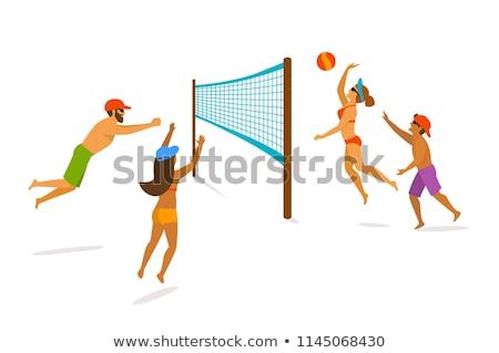 casal · praia · jogar · bola · prestados · alto - foto stock © orla