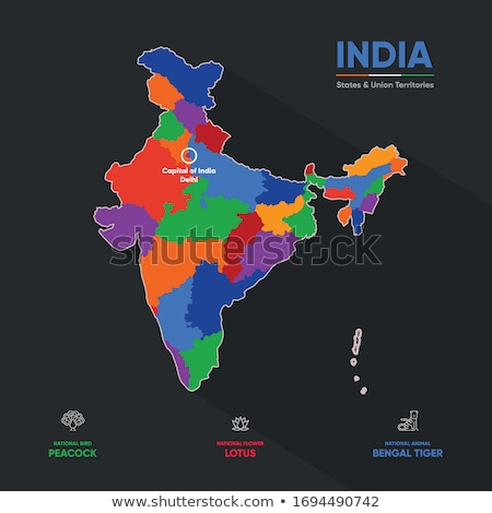 indian map in tricolor vector design illustration stock photo © sarts