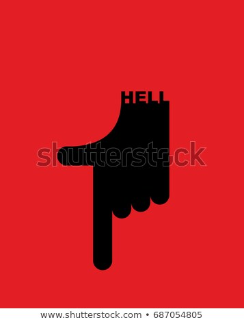 Hell pointer hand. Direction down. Pointing gesture devil Stock photo © popaukropa