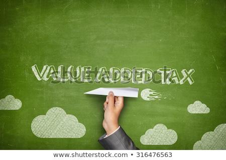 ÁFA érték adó iskolatábla kéz ír Stock fotó © ivelin
