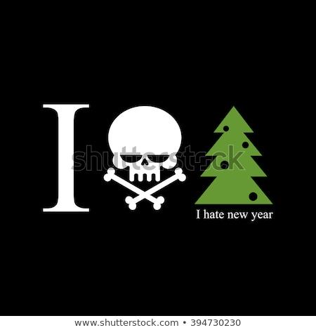 Haine nouvelle année arbre de noël crâne croix signe Photo stock © MaryValery