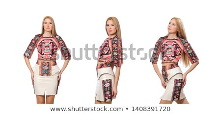 Mooie model kleding tapijt geïsoleerd witte Stockfoto © Elnur