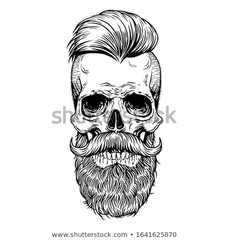 hipster skull with beard and mustache vector stock photo © andrei_