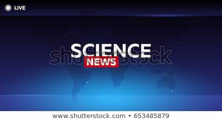Stock photo: Mass media. Science news. Breaking news banner. Live. Television studio. TV show.