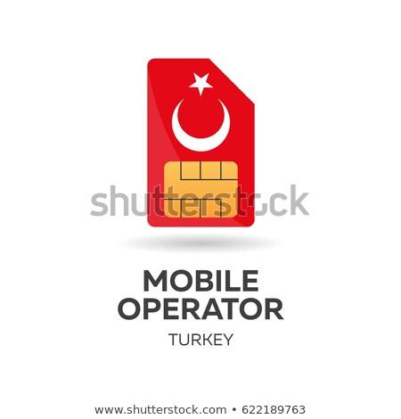 Turkey mobile operator. SIM card with flag. Vector illustration. Stock photo © Leo_Edition
