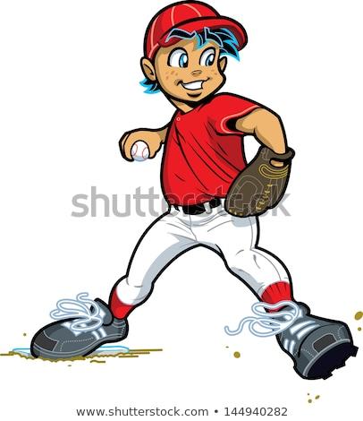 Beysbol beysbole benzer top oyunu top adam karikatür Stok fotoğraf © Krisdog