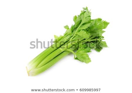 Friss zeller zöld fából készült vágódeszka fehér Stock fotó © Digifoodstock