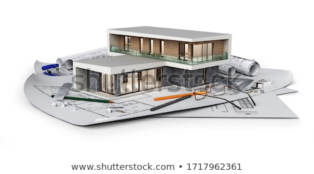 Stock photo: the house 3d image on the plan