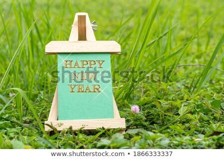 мольберт зеленая трава белый бумаги карандашей Сток-фото © FOTOYOU