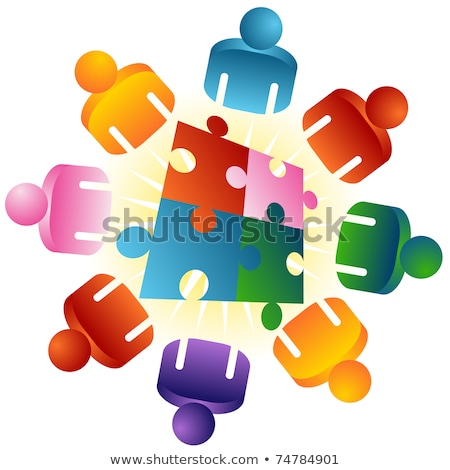 Stock photo: Roundtable Puzzle Solving Team