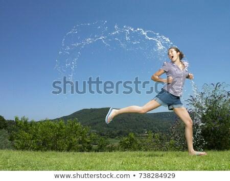 少女 を実行して アーク 水 抽象的な 夏 ストックフォト © IS2