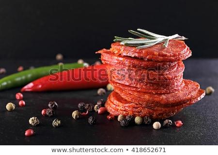 Plastry pikantny salami szczegół cienki Zdjęcia stock © Digifoodstock