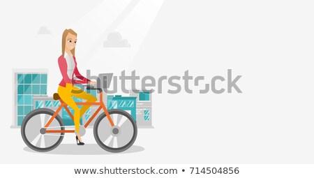 zakenvrouw · paardrijden · fiets · laptop · jonge · kaukasisch - stockfoto © rastudio