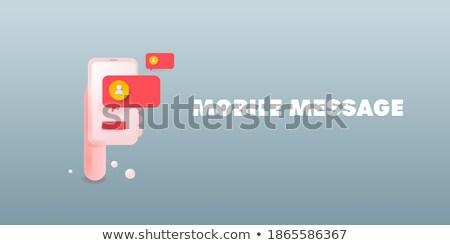 Stockfoto: Chat · bericht · banner · man · vrouw · communiceren