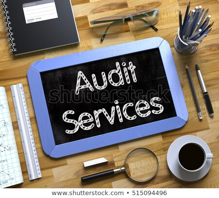 Stock photo: Audit Services Handwritten on Small Chalkboard. 3D.