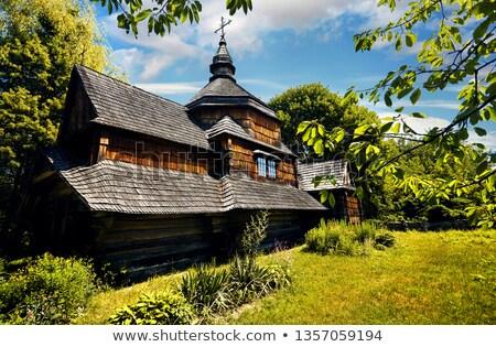 eski · kırsal · ev · geleneksel · çim · duvar - stok fotoğraf © kotenko